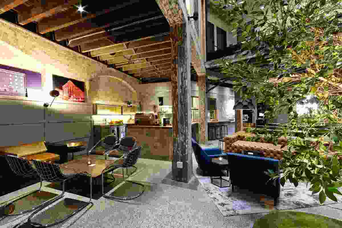 Heritage structures preserved in 1888 Hotel's bar and eatery.