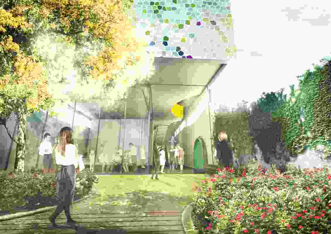 Durbach Block Jaggers design for the proposed new cooking school at Sydney Markets has been inspired by the concept of secret gardens and netted trees.