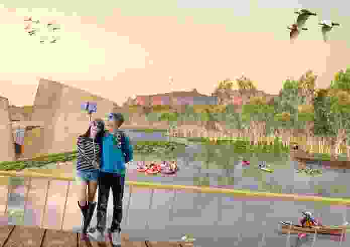 The Jabiru lake boardwalk and viewing platform the masterplan for Jabiru by NAAU and Enlocus.