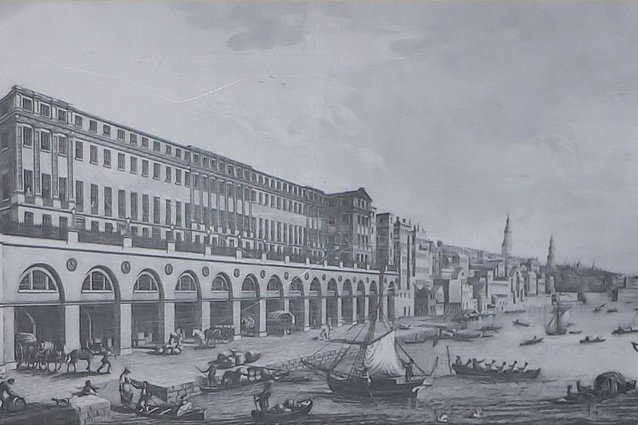 The Adam Brothers' Adelphi (1768-72), London's first neo-classical building. Eleven large houses fronted a vaulted terrace, with wharves beneath.