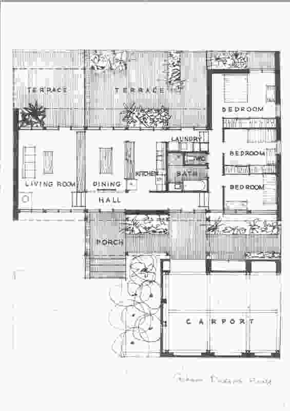 Plan of Dickson House by Dickson and Platten (1958).