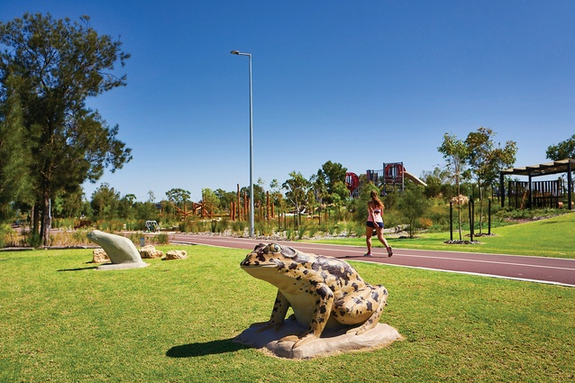 Noogar artist Tjyllyungoo's Kwooyar Boorongur –Morphing Frog sculptures join an abundance of public art on the site.