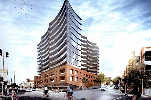 The $57 million proposal for a 13-storey apartment development by John Wardle Architects in the inner-Melbourne suburb of Collingwood.