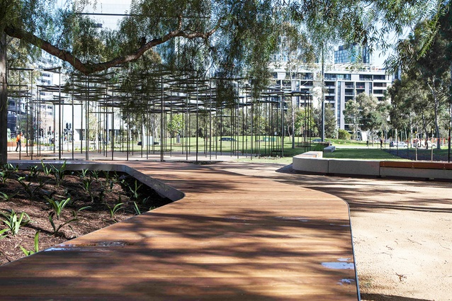 AL_A's 2015 MPavilion and the new circular deck seat in the new park designed by landscape architecture firm MALA.