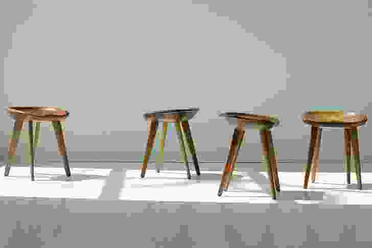 Tractor stool is based on the moulded form of an old farm machinery seat.