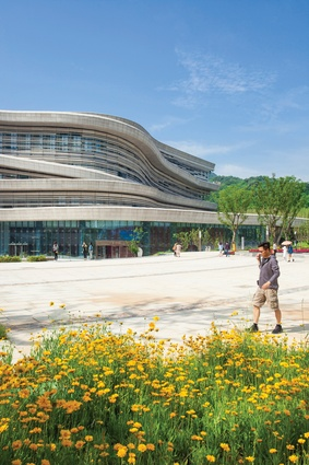 A generous open space at the museum entrance is embraced by the sweeping curves of the building.