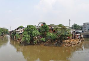 Kampung Pulo in Jakarta is a 200-year-old informal settlement on the banks of the Ciliwung River.