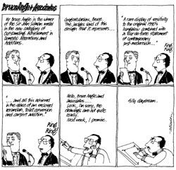 """Geoffrey Atherton's """"Bruce Angle"""" cartoons accompanied the dry wit of Tom Heath's erudite editorials of the 1980s."""