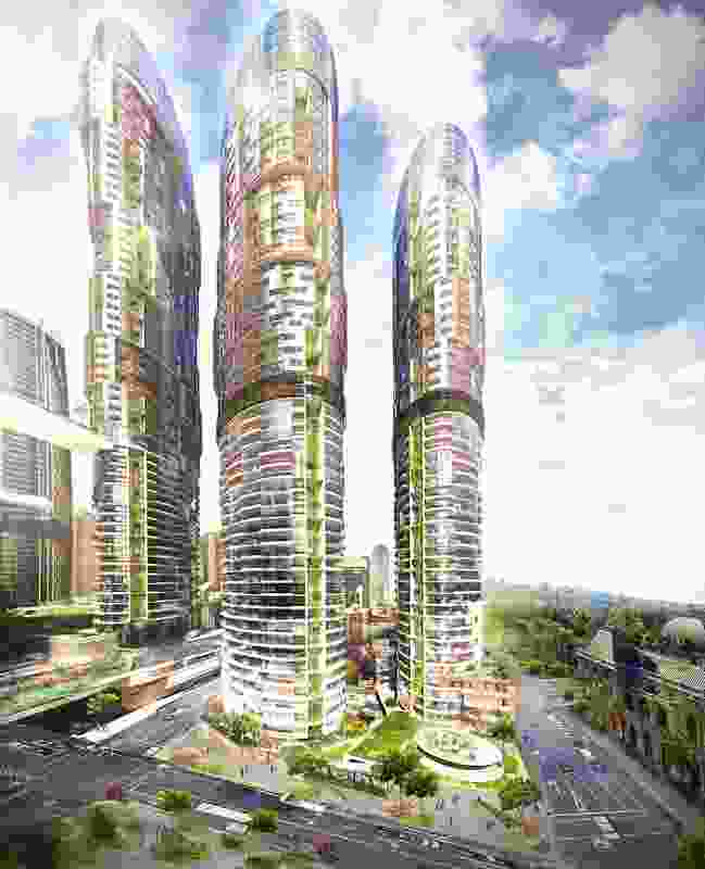 Proposed new residential towers in the proposed Queens Wharf Brisbane casino resort redevelopment designed by Cottee Parker Architects.