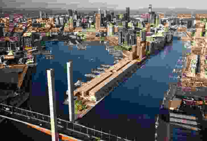 Proposed built form in 2010 development plan for Victoria Harbour by by Aspect Oculus in association with Studio Nield and Lend Lease Design.