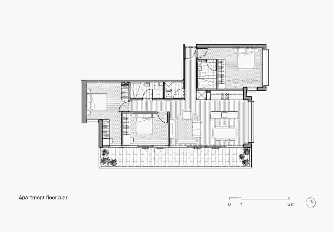 Apartment floor plan of Cirqua Apartments by BKK Architects.