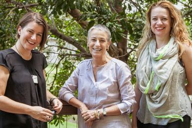 Festival of Landscape Architecture creative directors Sharon Mackay (left) and Di Snape (right) with advisor Dr Catherin Bull AM (middle).