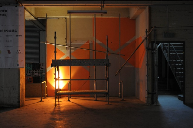 INDEX12 exhibition used scaffolding as the hanging medium.
