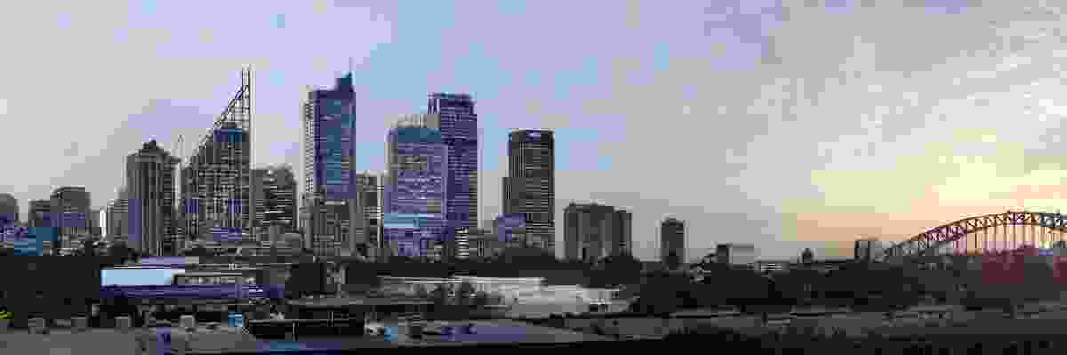 In progress image of Sydney Modern Project, dusk view from Woolloomooloo as produced by Kazuyo Sejima + Ryue Nishizawa / SANAA.