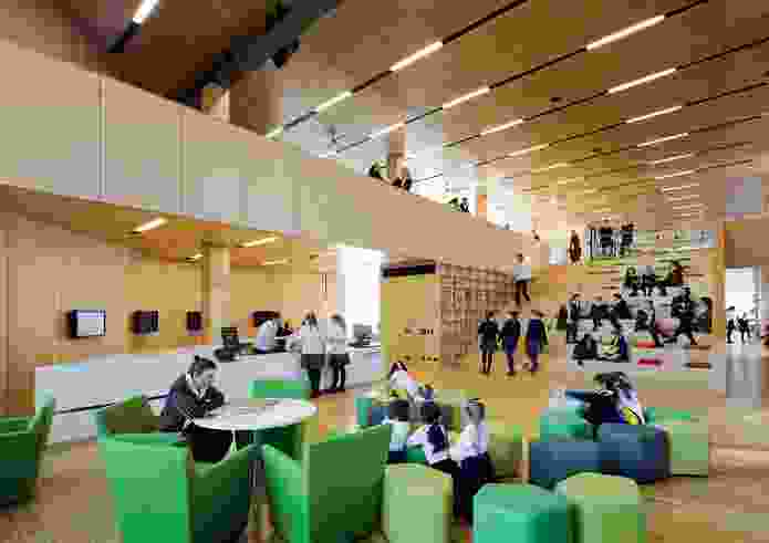 The double-storey-height atrium in the Learning Resource Centre features amphitheatre seating.