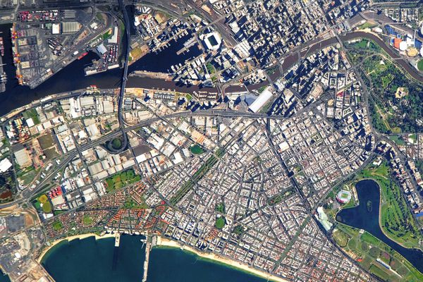 Satellite view of central Melbourne and the Fishermans Bend renewal area.