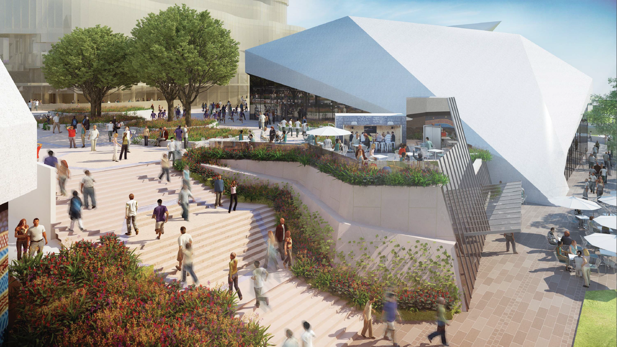 New Art Space Plaza in the proposed redevelopment of Adelaide Festival Plaza designed by ARM Architecture and Taylor Cullity Lethlean.