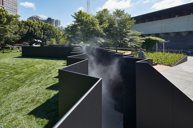<i>Doubleground</i> by Muir and Openwork creates a canyon-like passage through the garden.