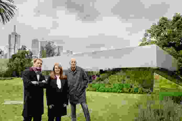 From left: David Gianotten, Naomi Milgrom and Rem Koolhaas at the 2017 MPavilion, designed by OMA.