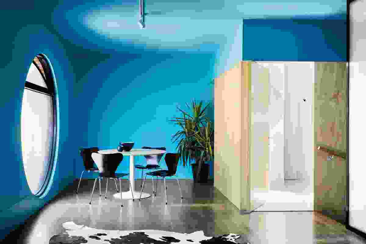 The interior of the building is painted blue and can be used in myriad ways.