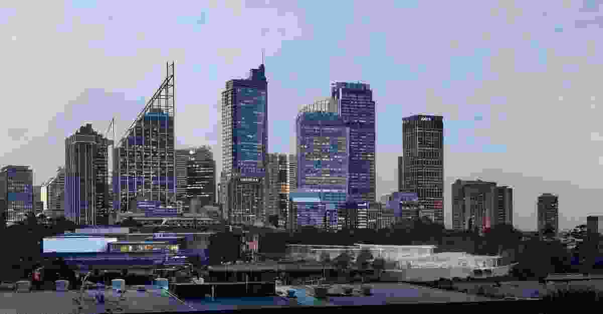 In progress image of Sydney Modern Project, close-up of dusk view from Woolloomooloo In progress image of Sydney Modern Project, dusk view from Woolloomooloo as produced by Kazuyo Sejima + Ryue Nishizawa / SANAA.