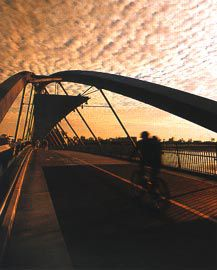 The pedestrian experience of the central arch structure of the Goodwill Bridge.Image: Stefan Jannides