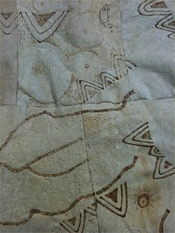 Detail of Dhudhuroa Baburra Kairra Bimbul Possum Skin Cloak 2006, made by Ngarra Murray.