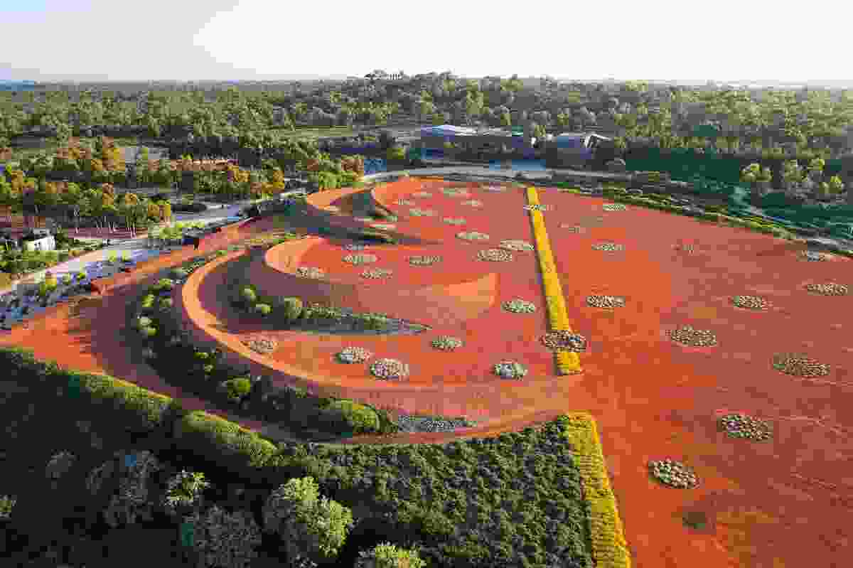 The central sand garden is an abstraction of Australia's red, arid centre.