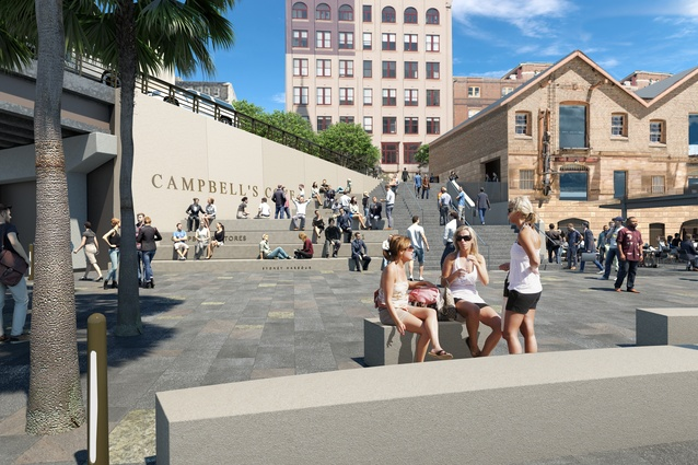 The Bay X stairs, next to Campbell's Stores originally designed by JPW, updated by Context Landscape Design.