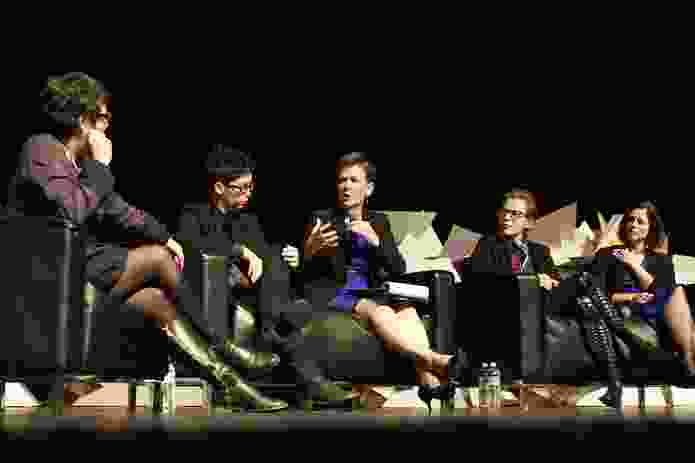 Palour panel. L–R: Justine Clark, Naomi Stead, Helene Combs Dreiling (president of American Institute of Architects), Emma Williamson and Beth Miller.