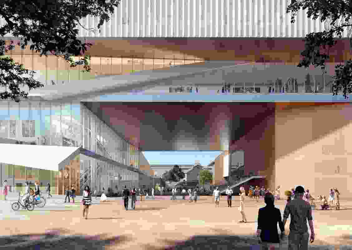 Entrance to the new WA Museum designed by  Hassell and OMA with managing contractor Brookfield Multiplex.