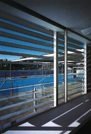 View through the brise-soleil to the training/toddlers pool.