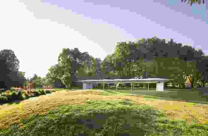"""The 2019 MPavilion by Glenn Murcutt is """"like a bridge over a river"""" that allows the park to be seen through it."""