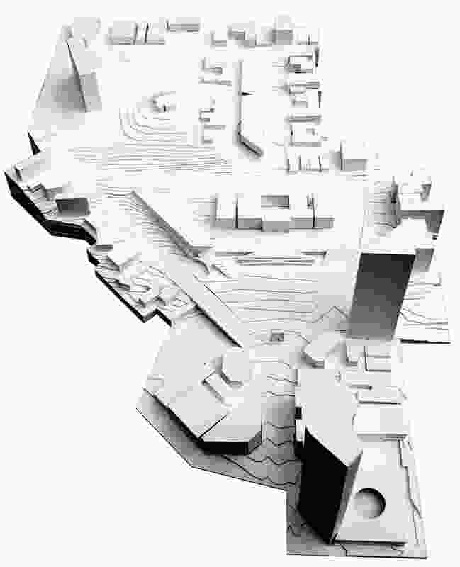 "Model of Pendal and Neille's ""restrained but elegant"" proposal for a new parliamentary forecourt, part of the Iredale Pedersen Hook scheme."