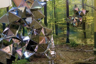 Reflective Lullaby, (2008), installation view. Stainless steel, photographic wallpaper and mixed media.