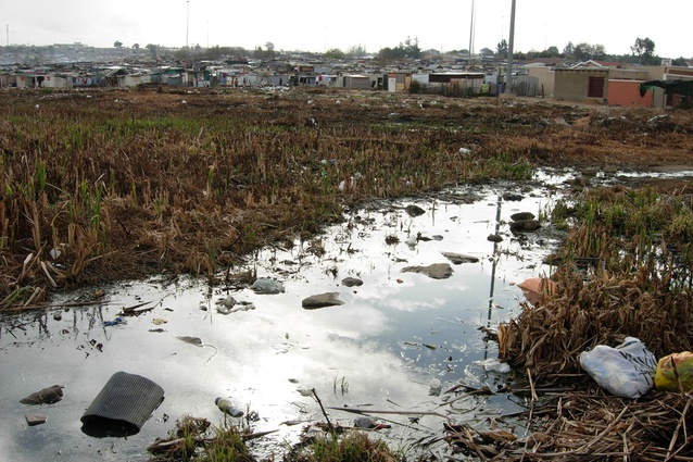 The slum is susceptible to flooding.