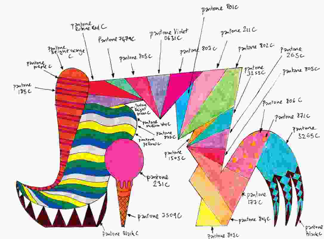 Sketch of a shoe /ice-cream / archway complete with pantone colours marked.