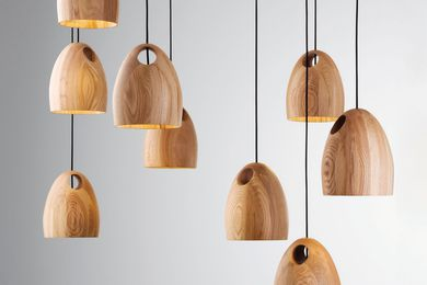Oak pendant light by Ross Gardam.