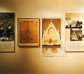 Right Wall panels and model showing St Peter's Cathedral, 1875.