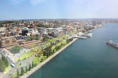 Proposed aerial view of the Newcastle waterfront.
