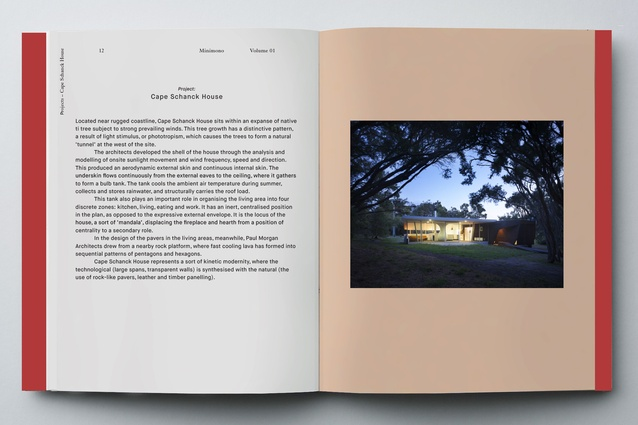 Spread showing Cape Schanck House from <em> Minimono: Paul Morgan Architects</em>.