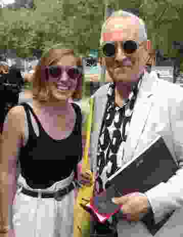 Grace Mortlock with Sir Peter Cook at the Giardini, Venice 2014.