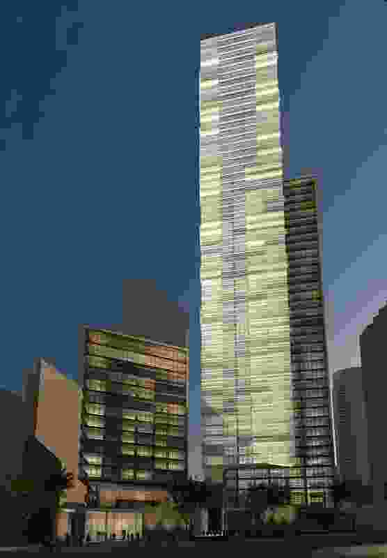 Kerry Hill Architects' original competition-winning design for two towers at 1 Alfred Street.