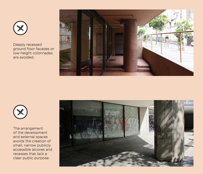 The Central Melbourne Design Guide provides example of unacceptable design outcomes.