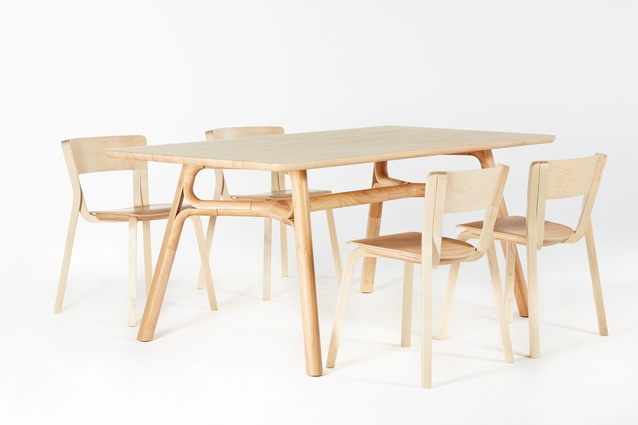 Justin Hutchinson Flow Dining Table And Adam Goodrum Para Dining Chairs In  Natural Rubberwood.