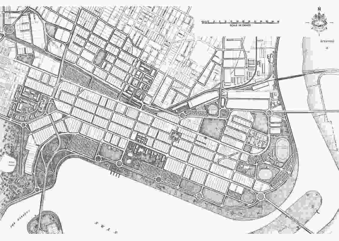 The Stephenson-Hepburn concept plan for Perth's interchange, 1955. The construction of the interchange and the burying of Mounts Bay were the focus of one of Perth's most vehement environmental debates.