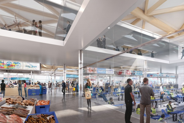 The lower level of the proposed Sydney Fish Market designed by 3XN/GXN, BVN and Aspect Studios will house the wholesale operations of the market.