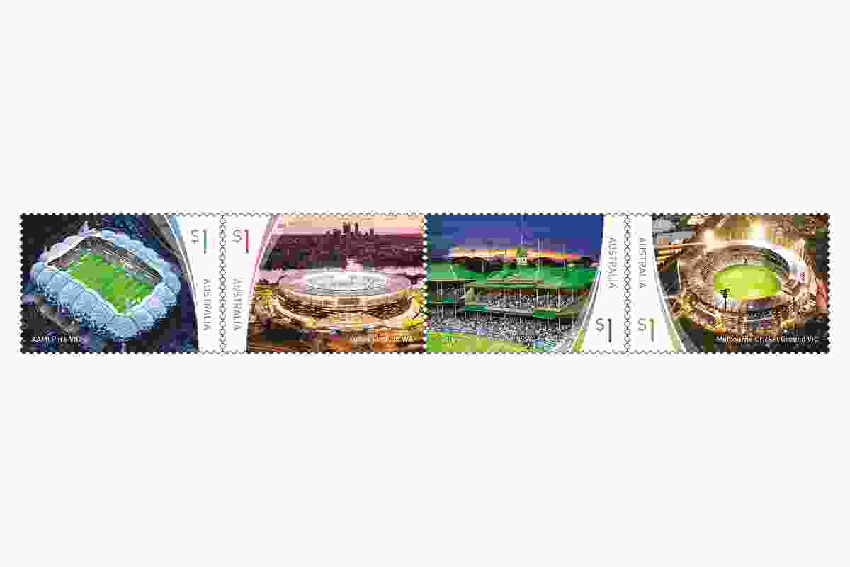 Stadiums featured on Australia Post's limited edition collection. L–R: AAMI Park by Cox Architecture, Optus Stadium by Hassell Cox HKS, Sydney Cricket Ground by J. Kirkpatrick, Melbourne Cricket Ground, including the Great Southern Stand Daryl Jackson in association with Tompkins Shaw and Evans.