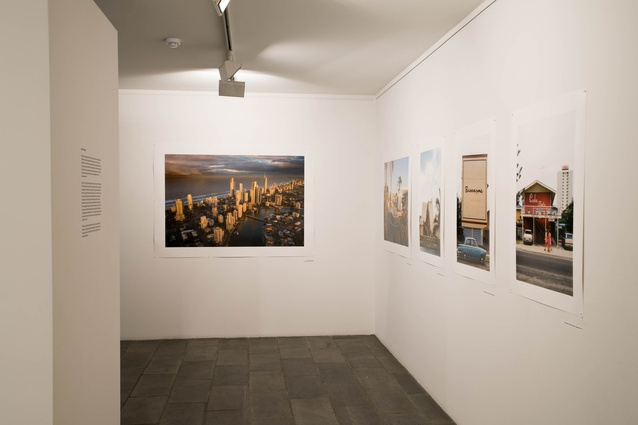 One room of the exhibition displays Gollings' fascination with the architecture and urbanism of the Gold Coast.