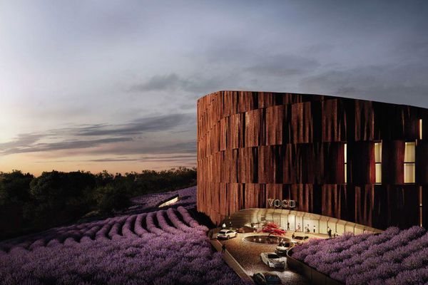 The lavender farm and hotel proposed for 483-489 Maroondah Highway and 169 Nelson Road, Lilydale, designed by Hachem Architects.